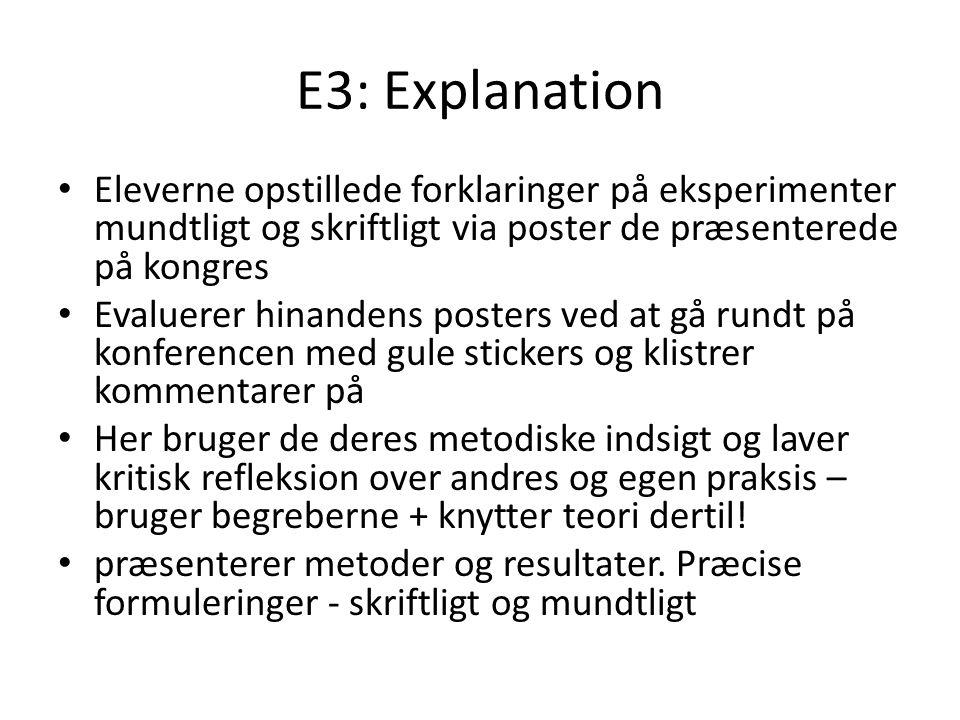 E3: Explanation Eleverne opstillede forklaringer på eksperimenter mundtligt og skriftligt via poster de præsenterede på kongres.