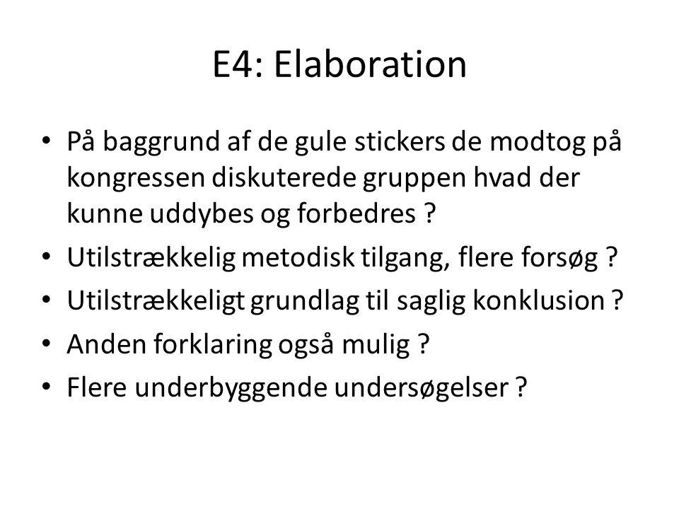 E4: Elaboration På baggrund af de gule stickers de modtog på kongressen diskuterede gruppen hvad der kunne uddybes og forbedres