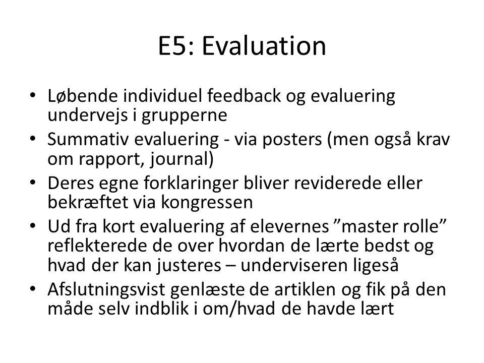 E5: Evaluation Løbende individuel feedback og evaluering undervejs i grupperne.