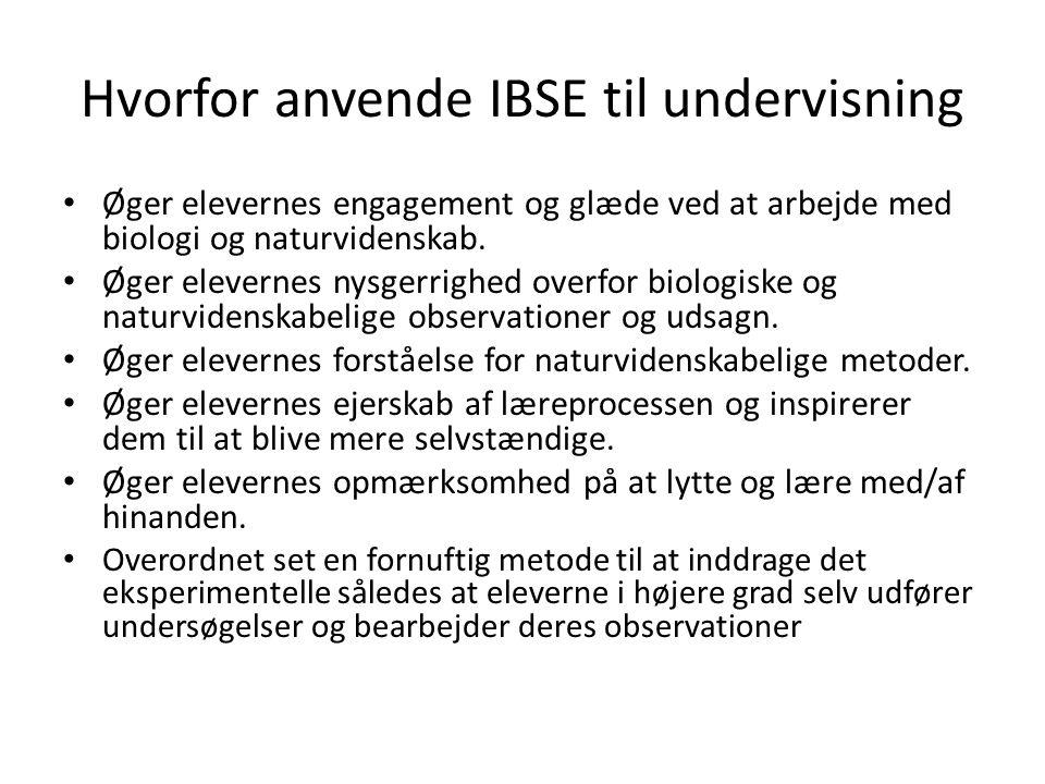 Hvorfor anvende IBSE til undervisning