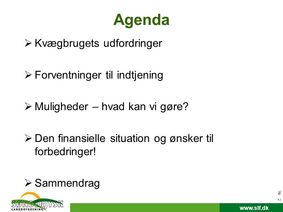 Agenda Kvægbrugets udfordringer Forventninger til indtjening