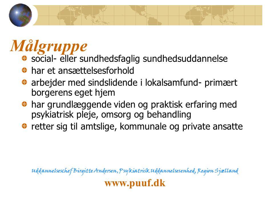 Målgruppe www.puuf.dk social- eller sundhedsfaglig sundhedsuddannelse