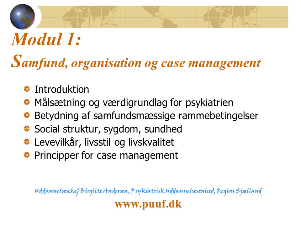 Modul 1: Samfund, organisation og case management