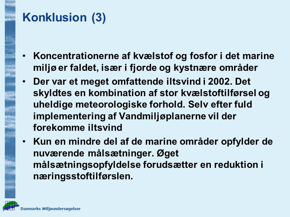 Konklusion (3) Koncentrationerne af kvælstof og fosfor i det marine miljø er faldet, især i fjorde og kystnære områder.
