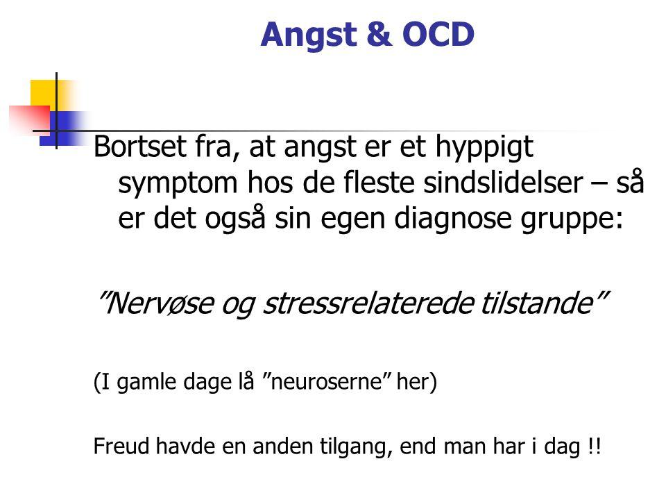 Angst & OCD Bortset fra, at angst er et hyppigt symptom hos de fleste sindslidelser – så er det også sin egen diagnose gruppe: