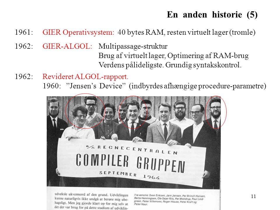 En anden historie (5) 1961: GIER Operativsystem: 40 bytes RAM, resten virtuelt lager (tromle)