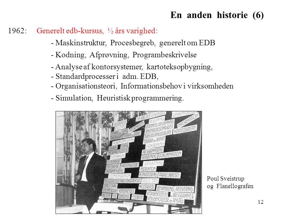 En anden historie (6) 1962: Generelt edb-kursus, ½ års varighed: