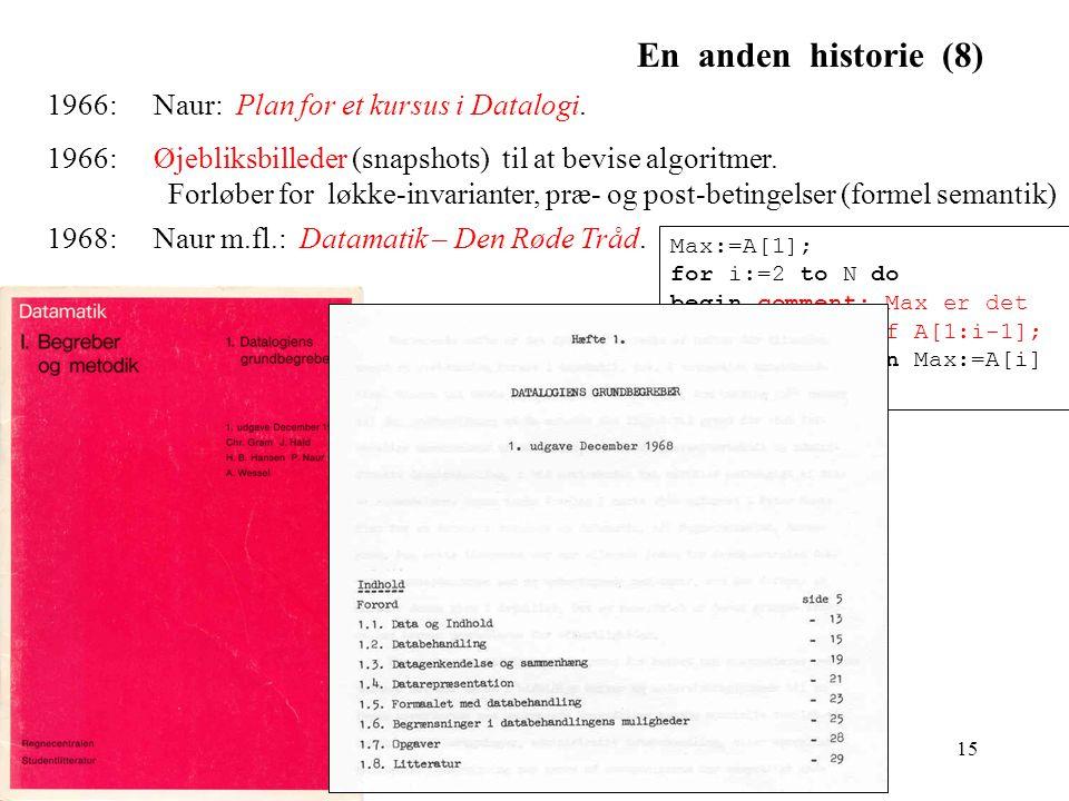 En anden historie (8) 1966: Naur: Plan for et kursus i Datalogi.
