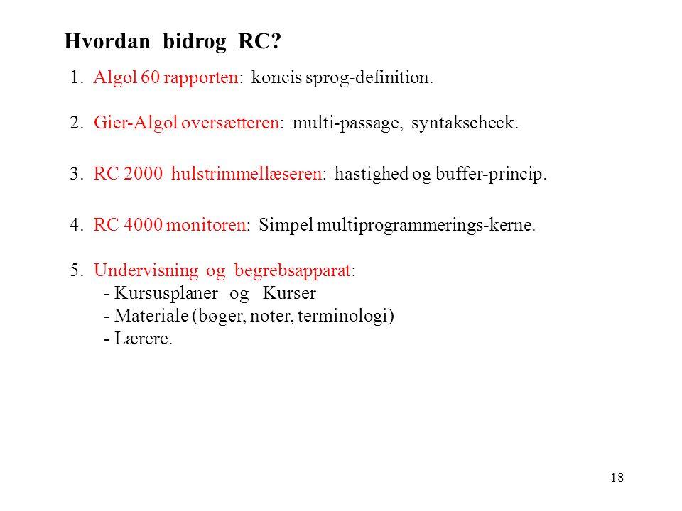 Hvordan bidrog RC 1. Algol 60 rapporten: koncis sprog-definition.
