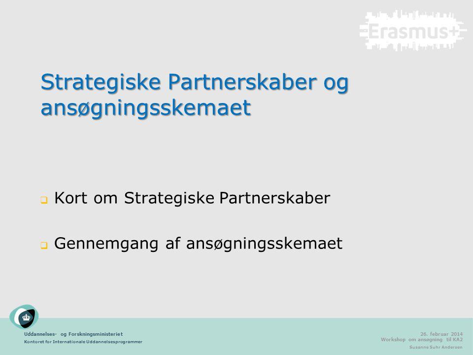 Strategiske Partnerskaber og ansøgningsskemaet