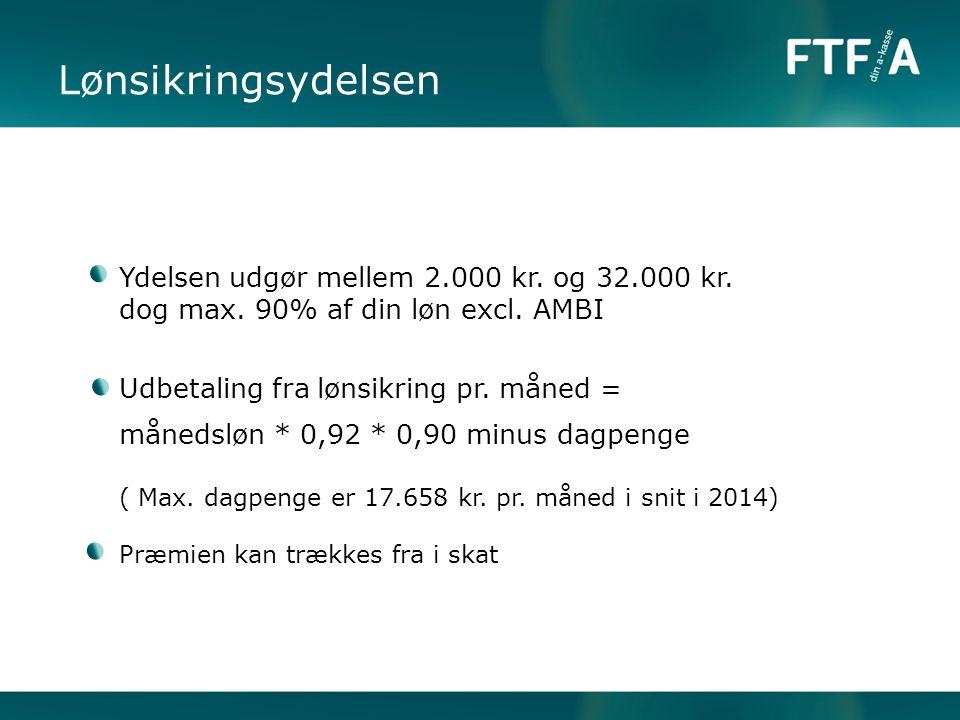 Lønsikringsydelsen Ydelsen udgør mellem 2.000 kr. og 32.000 kr.