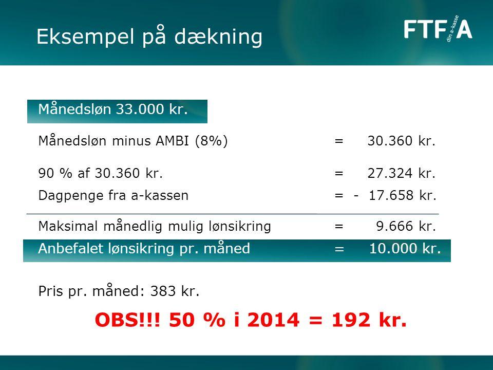 Eksempel på dækning OBS!!! 50 % i 2014 = 192 kr. Månedsløn 33.000 kr.