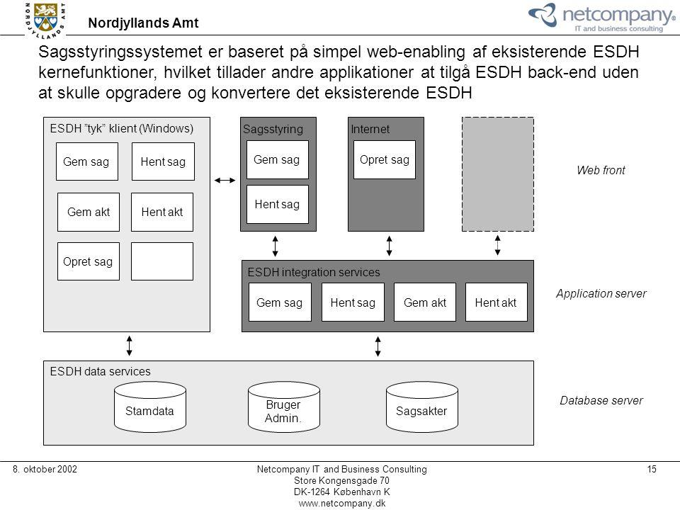 Sagsstyringssystemet er baseret på simpel web-enabling af eksisterende ESDH kernefunktioner, hvilket tillader andre applikationer at tilgå ESDH back-end uden at skulle opgradere og konvertere det eksisterende ESDH