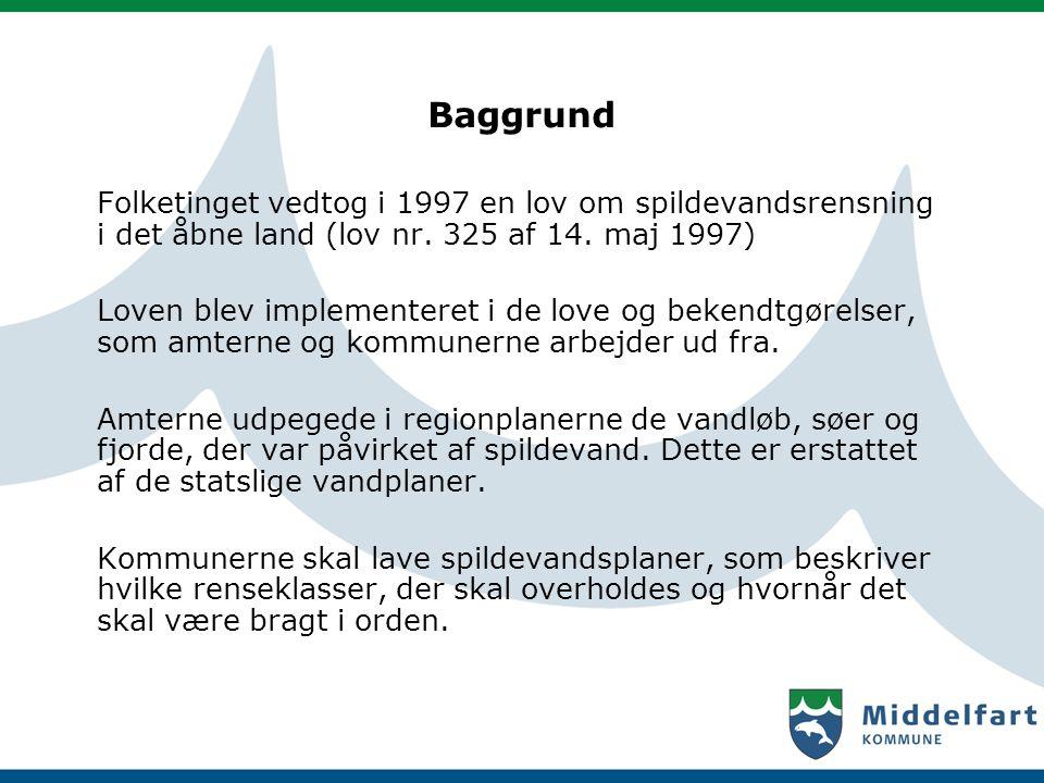 Baggrund Folketinget vedtog i 1997 en lov om spildevandsrensning i det åbne land (lov nr. 325 af 14. maj 1997)