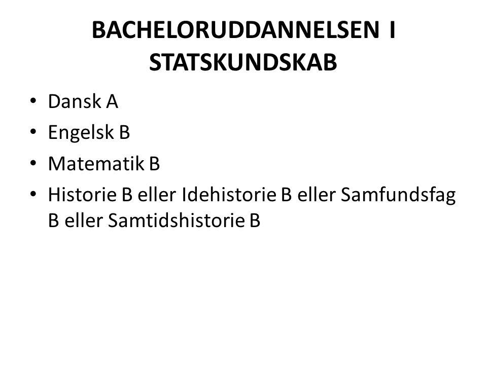 BACHELORUDDANNELSEN I STATSKUNDSKAB