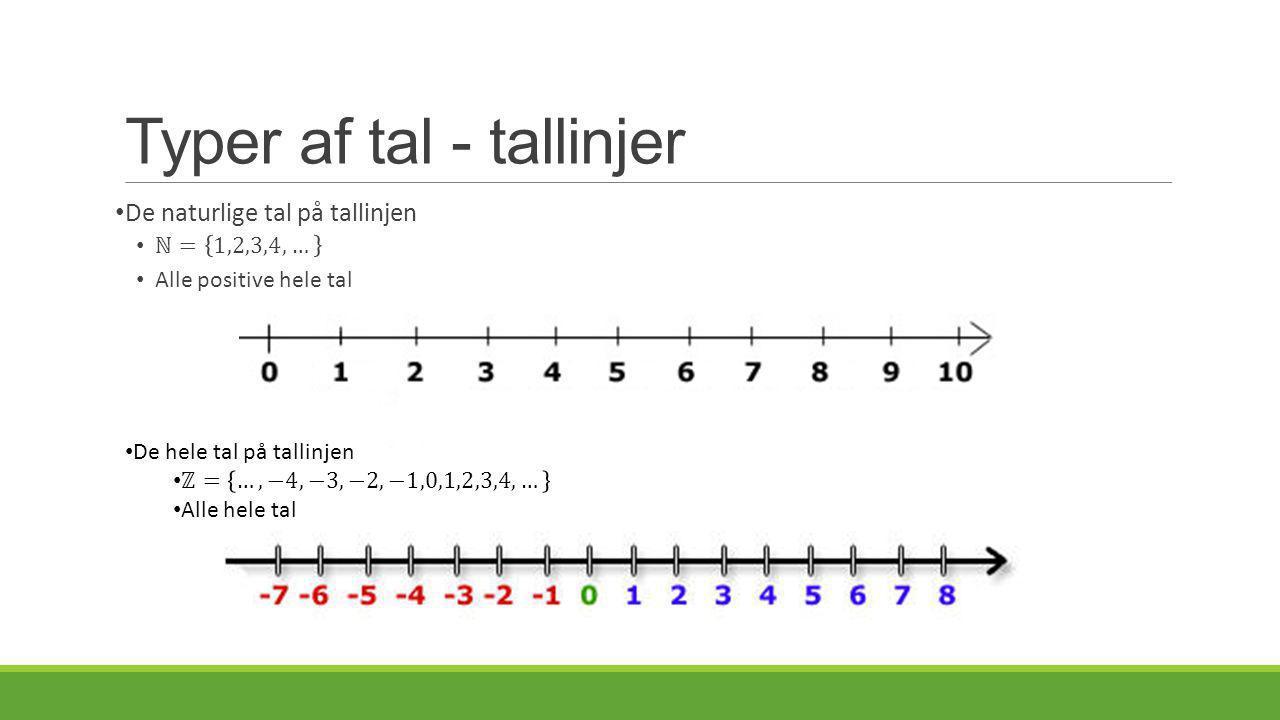 Typer af tal - tallinjer