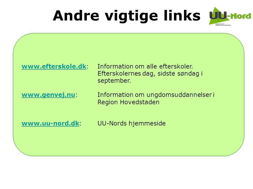 Andre vigtige links www.efterskole.dk: Information om alle efterskoler. Efterskolernes dag, sidste søndag i september.
