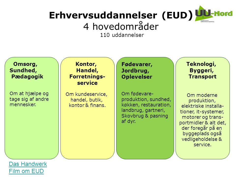 Erhvervsuddannelser (EUD) 4 hovedområder 110 uddannelser