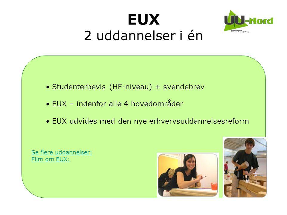 EUX 2 uddannelser i én Studenterbevis (HF-niveau) + svendebrev