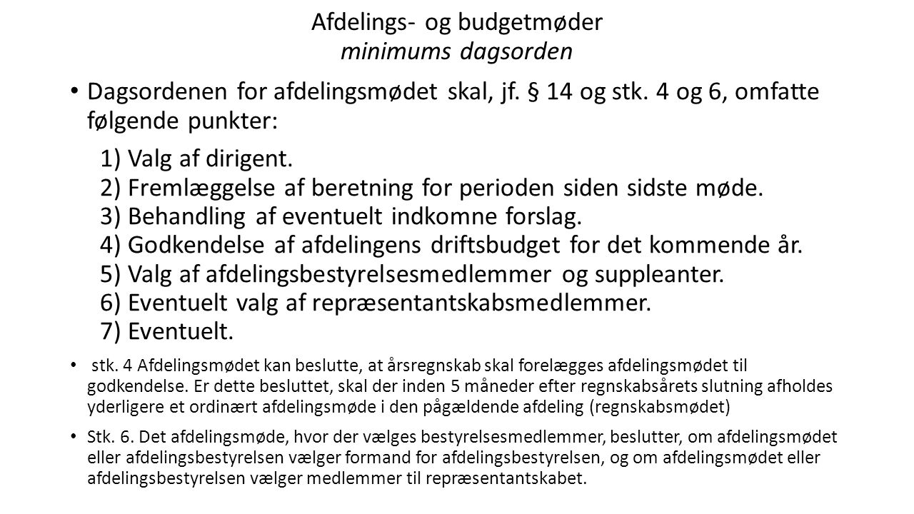 Afdelings- og budgetmøder minimums dagsorden
