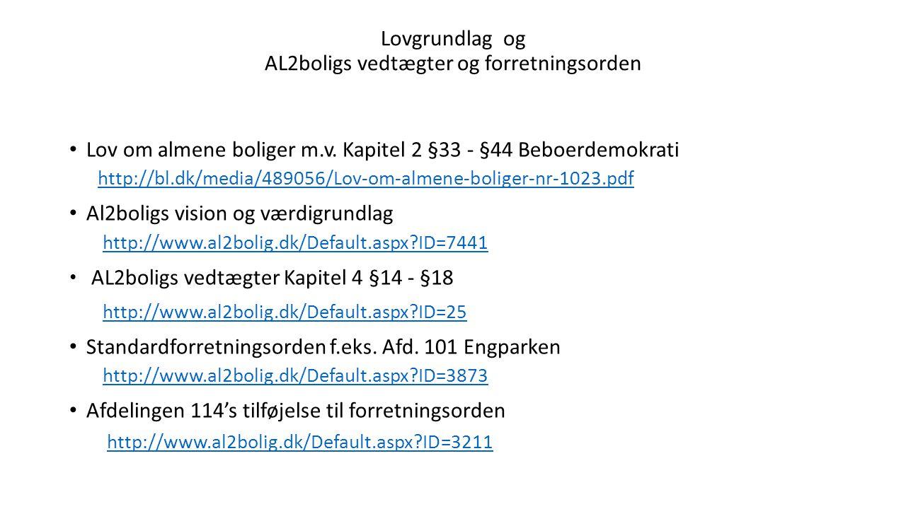 Lovgrundlag og AL2boligs vedtægter og forretningsorden