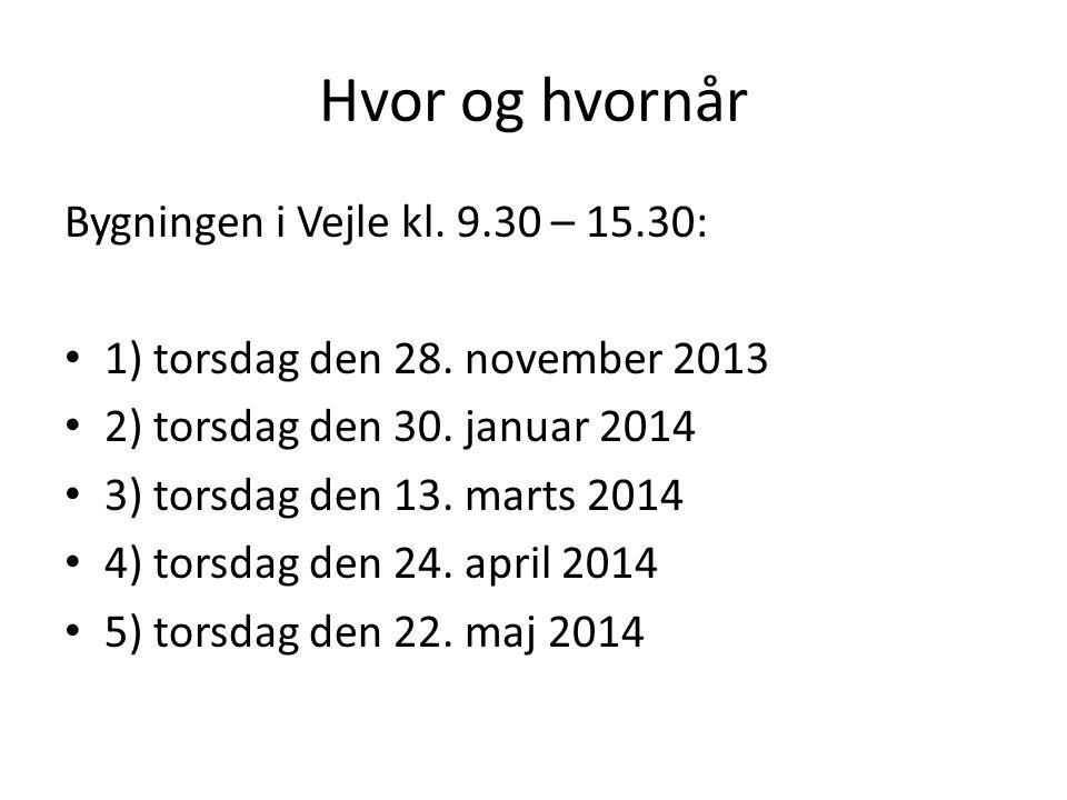 Hvor og hvornår Bygningen i Vejle kl. 9.30 – 15.30: