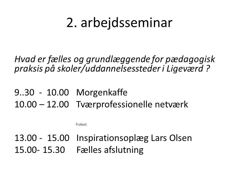 2. arbejdsseminar Hvad er fælles og grundlæggende for pædagogisk praksis på skoler/uddannelsessteder i Ligeværd