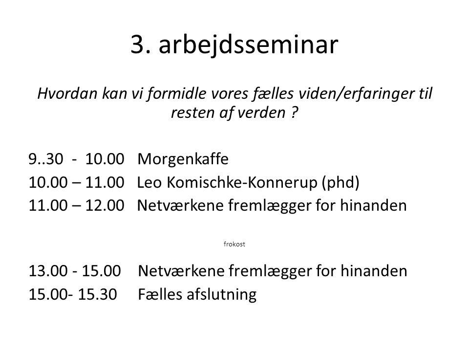 3. arbejdsseminar Hvordan kan vi formidle vores fælles viden/erfaringer til resten af verden 9..30 - 10.00 Morgenkaffe.