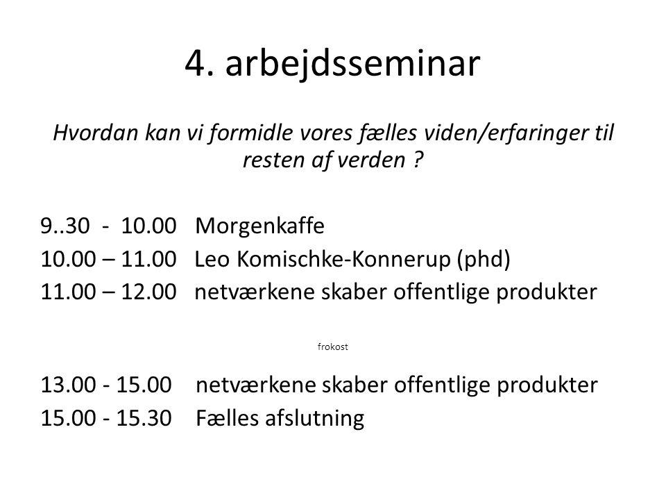 4. arbejdsseminar Hvordan kan vi formidle vores fælles viden/erfaringer til resten af verden 9..30 - 10.00 Morgenkaffe.