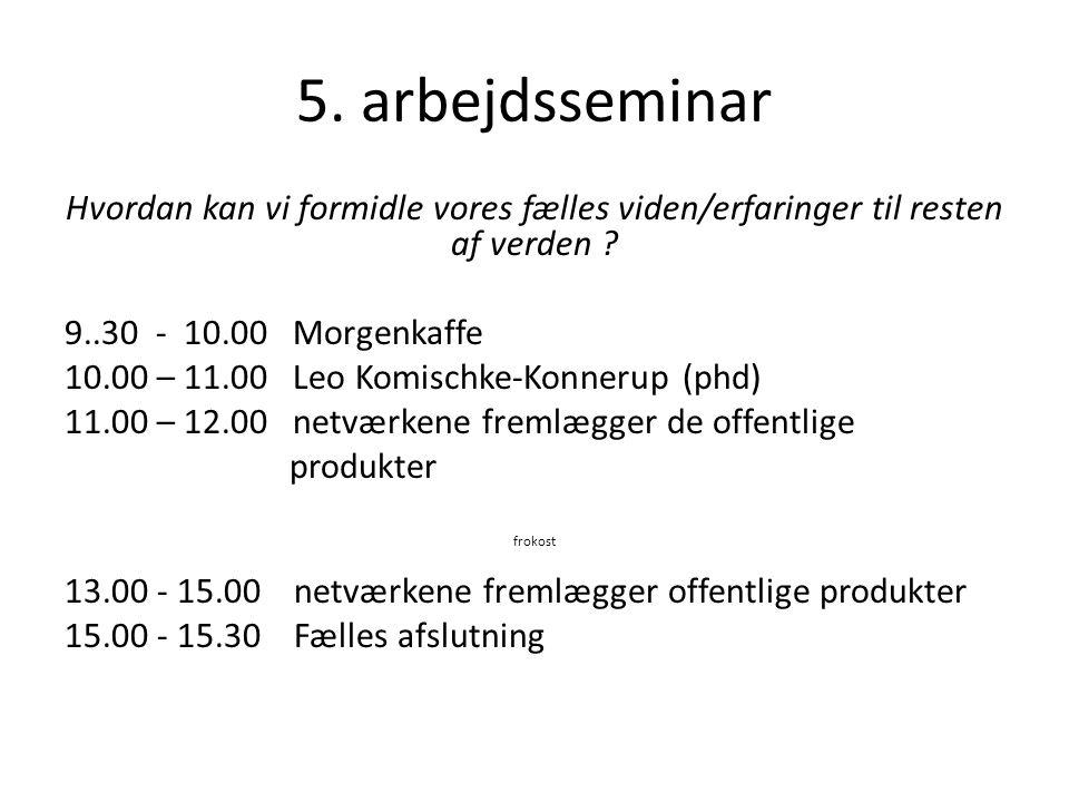 5. arbejdsseminar Hvordan kan vi formidle vores fælles viden/erfaringer til resten af verden 9..30 - 10.00 Morgenkaffe.