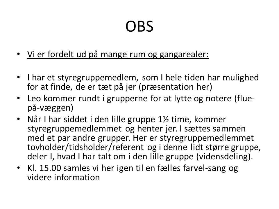 OBS Vi er fordelt ud på mange rum og gangarealer: