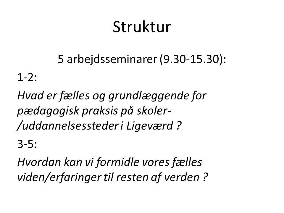 5 arbejdsseminarer (9.30-15.30):