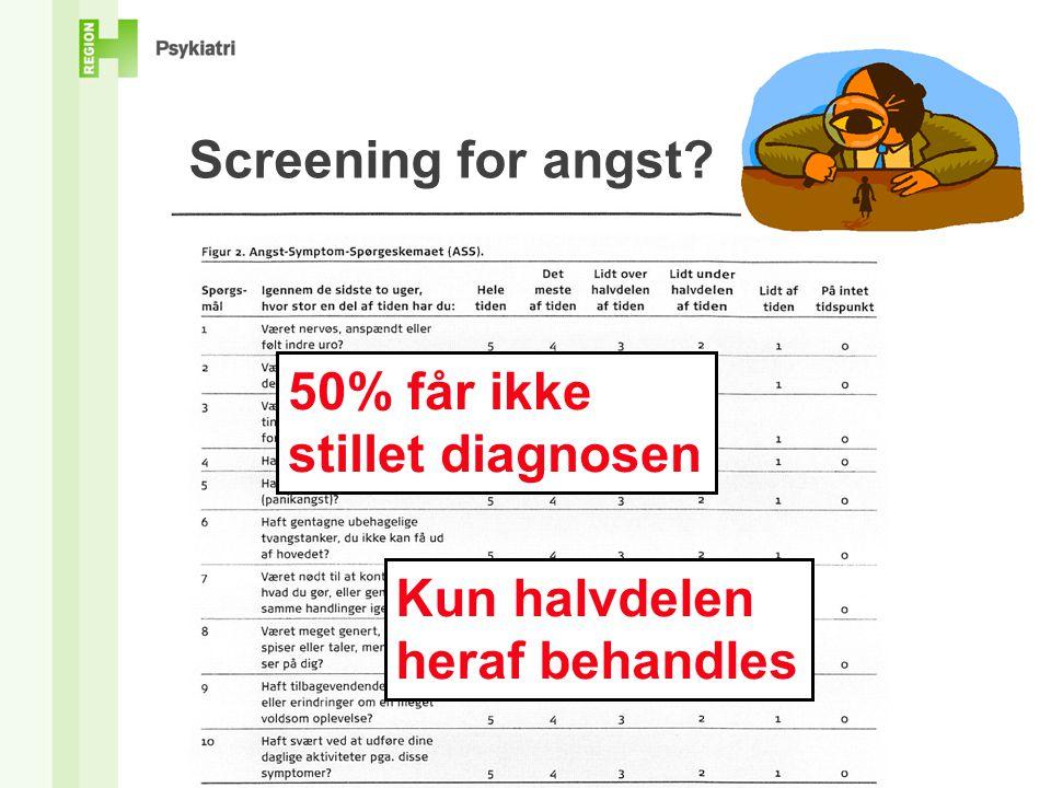 Screening for angst 50% får ikke stillet diagnosen Kun halvdelen