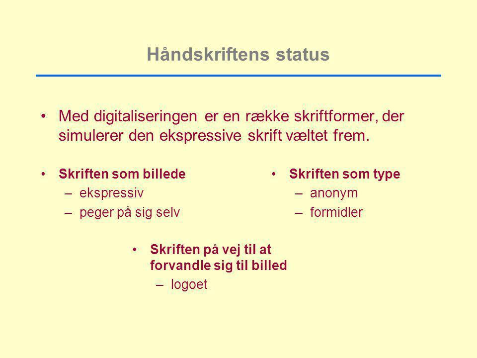 Håndskriftens status Med digitaliseringen er en række skriftformer, der simulerer den ekspressive skrift væltet frem.