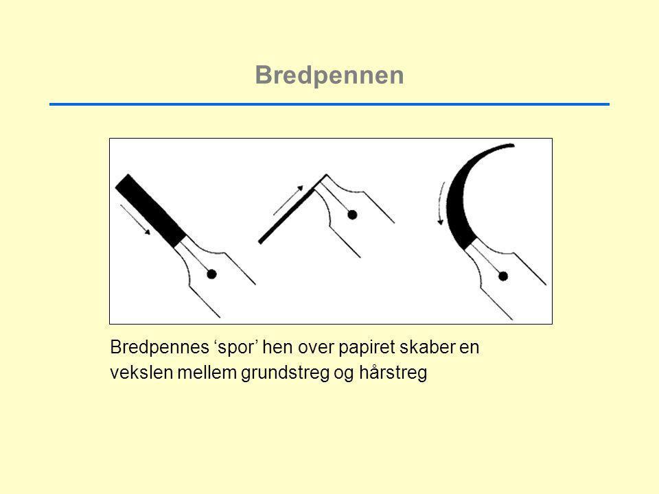 Bredpennen Bredpennes 'spor' hen over papiret skaber en vekslen mellem grundstreg og hårstreg