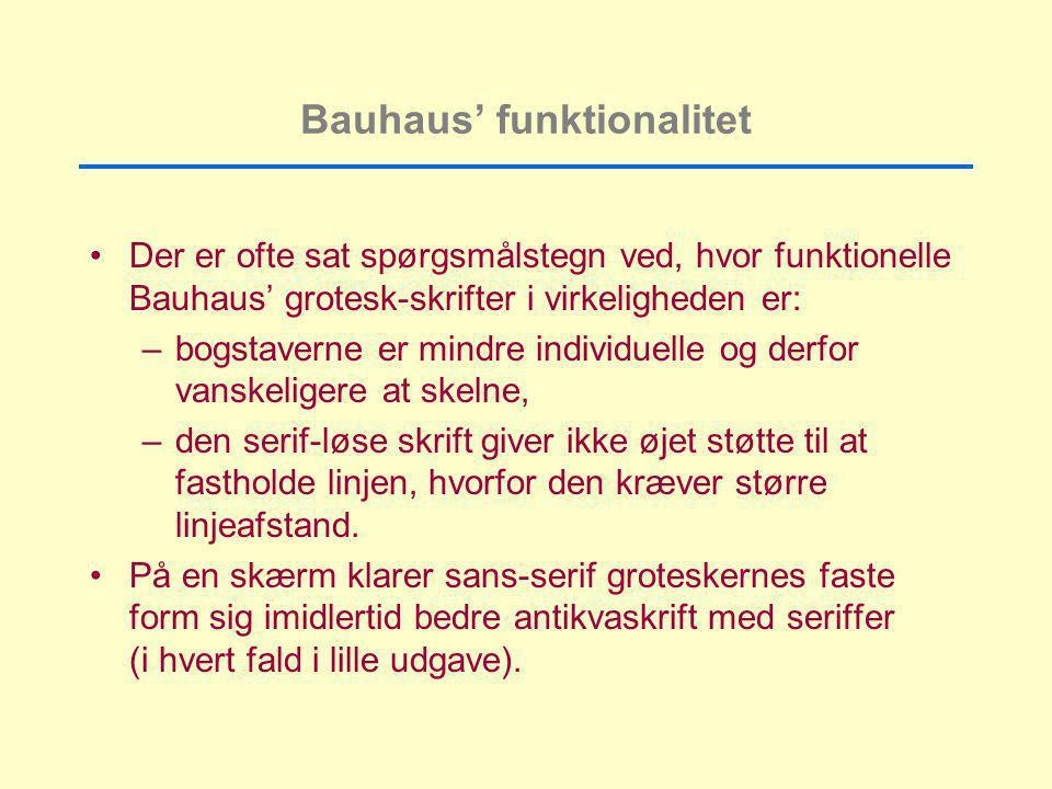 Bauhaus' funktionalitet