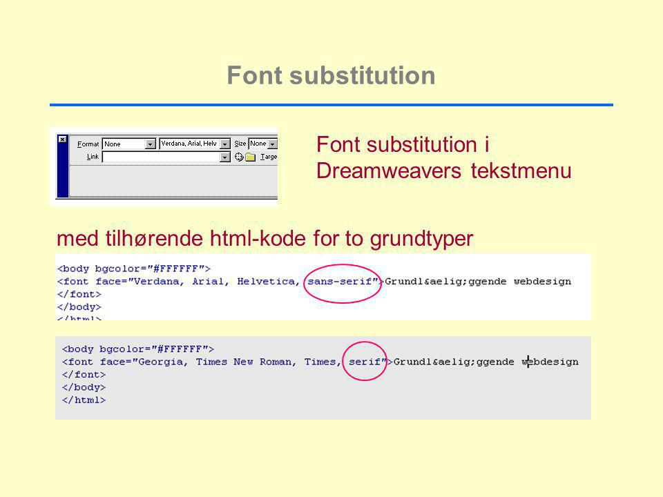 Font substitution Font substitution i Dreamweavers tekstmenu