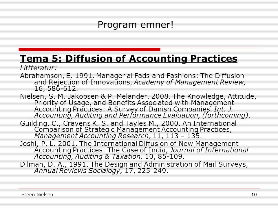 Tema 5: Diffusion of Accounting Practices
