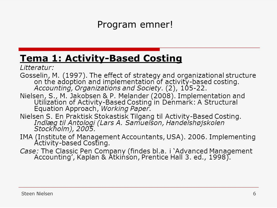 Tema 1: Activity-Based Costing