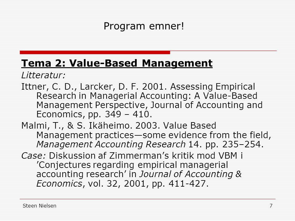 Tema 2: Value-Based Management