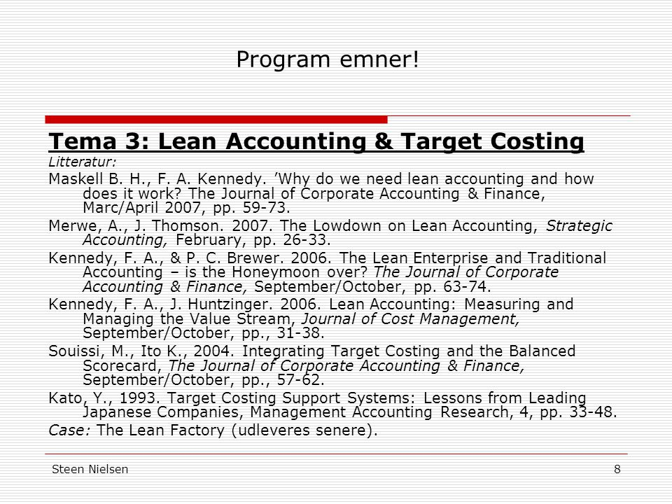 Tema 3: Lean Accounting & Target Costing