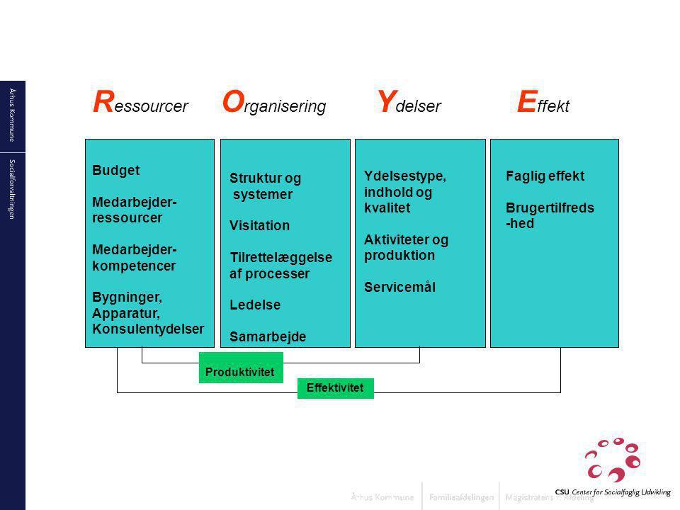 Ressourcer Organisering Ydelser Effekt Budget Medarbejder- ressourcer