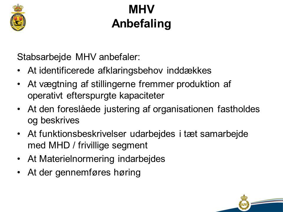 MHV Anbefaling Stabsarbejde MHV anbefaler: