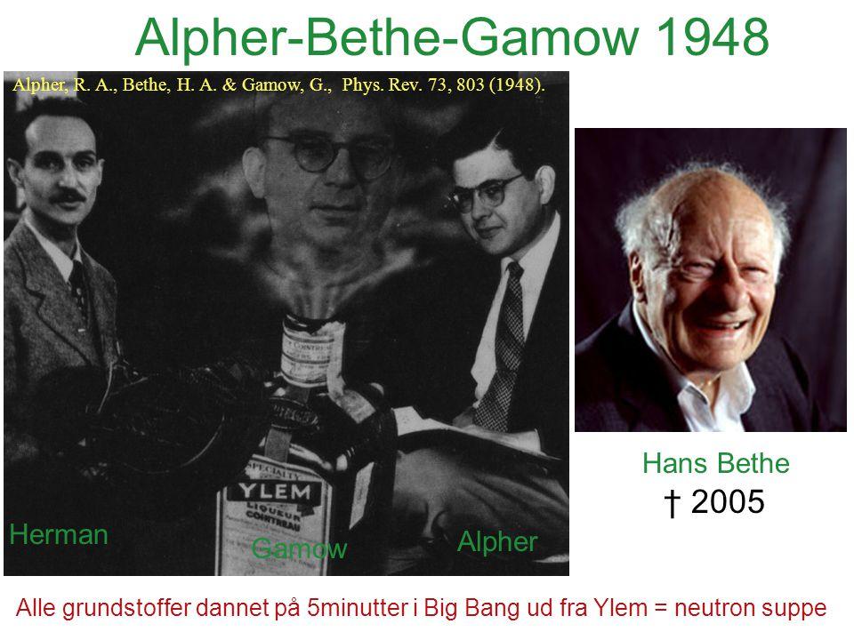 Alpher-Bethe-Gamow 1948 † 2005 Hans Bethe Herman Alpher Gamow