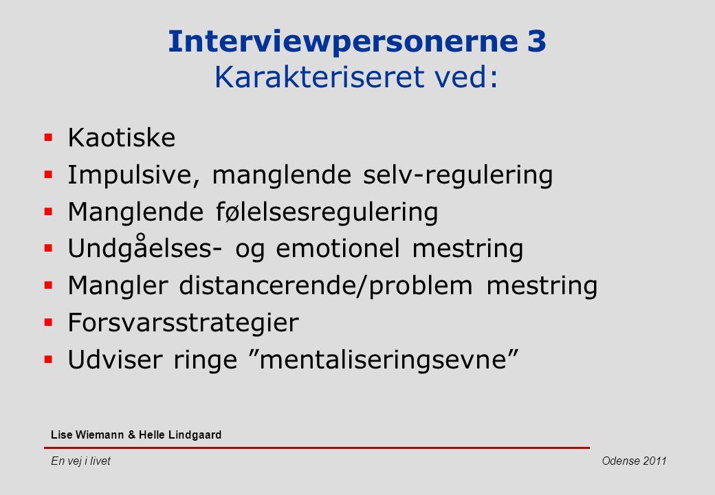 Interviewpersonerne 3 Karakteriseret ved: