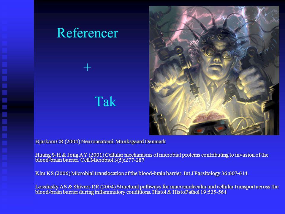 Referencer + Tak Bjarkam CR (2004) Neuroanatomi. Munksgaard Danmark