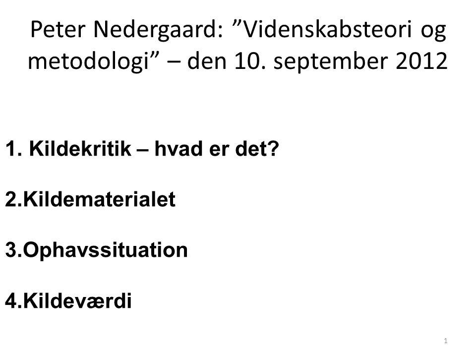 Peter Nedergaard: Videnskabsteori og metodologi – den 10