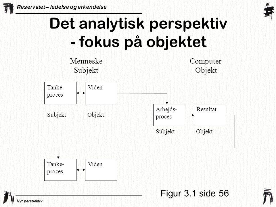 Det analytisk perspektiv - fokus på objektet