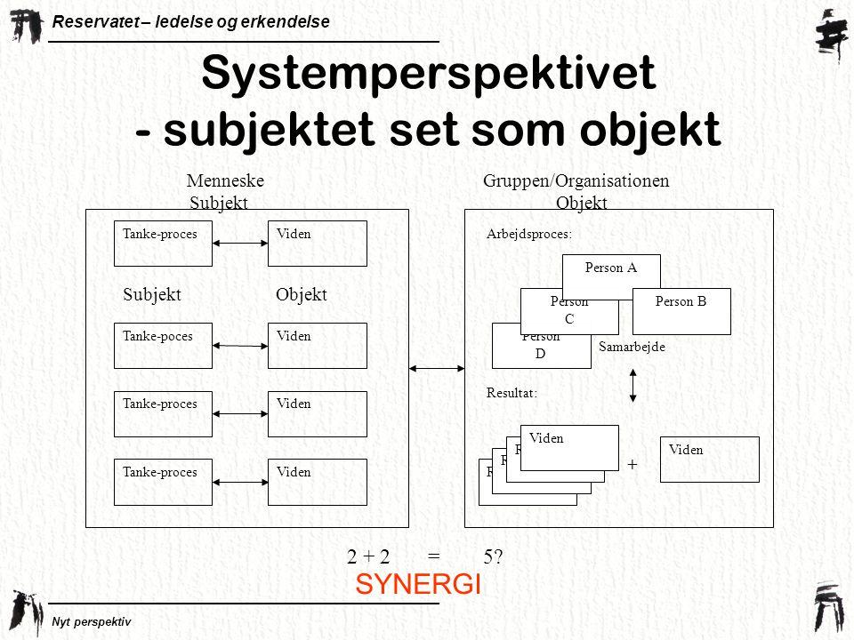 Systemperspektivet - subjektet set som objekt