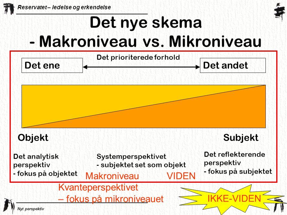 Det nye skema - Makroniveau vs. Mikroniveau